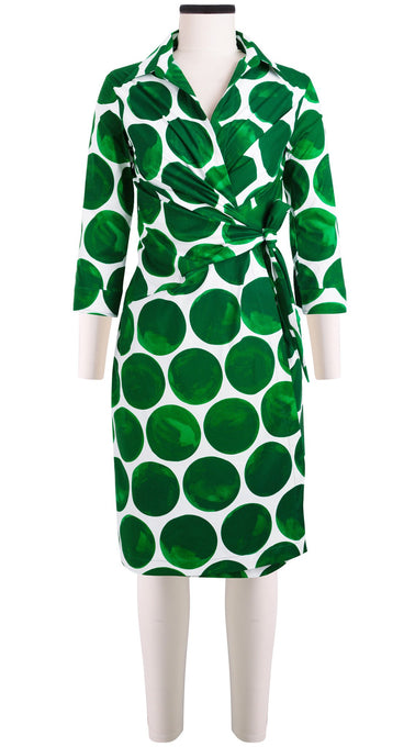 3/4 Sleeve | Whitney Dots | White Pine Green | Front | Dress By Samantha Sung
