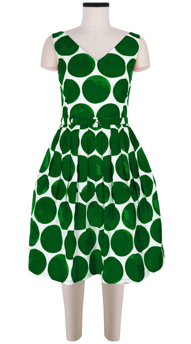 Sleeveless | Whitney Dots | White Pine Green | Front | Dress By Samantha Sung