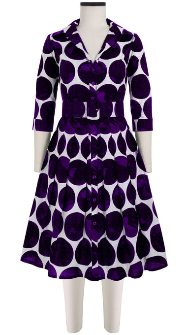 Audrey Dress #1_Whitney Dots in White Royal Purple_Cotton Stretch_Shirt Collar 3/4 Sleeve