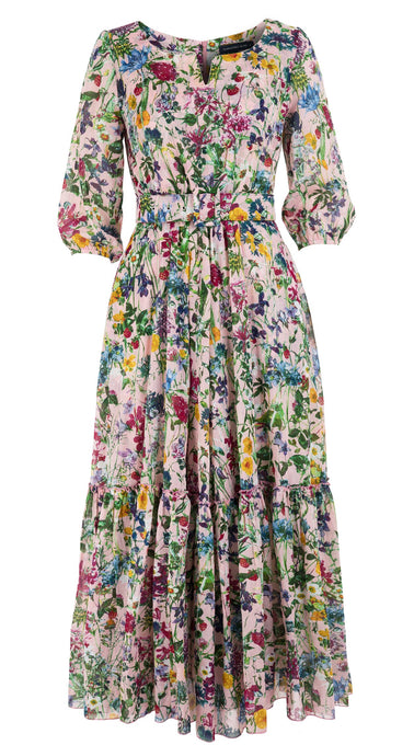 Anna Dress #2 Boat Neck 3/4 Puff Sleeve Ankle Length Cotton Musola (Wild Flowers)