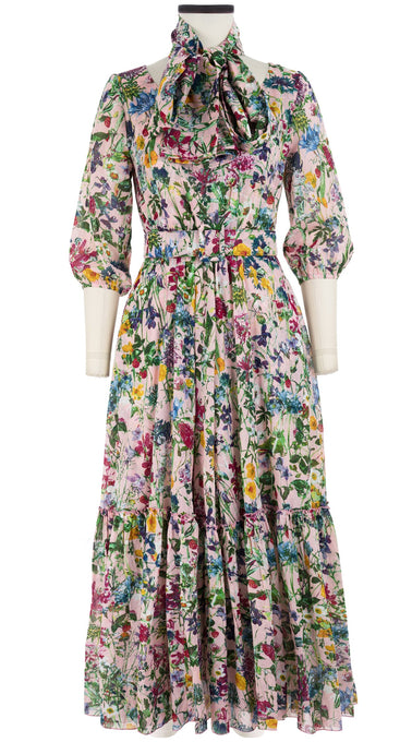Anna Dress #2 Boat Neck 3/4 Puff Sleeve Ankle Length Cotton Musola (Wild Flower)