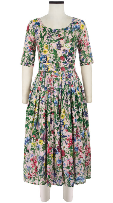 Florance Dress #2 Boat Neck 3/4 Sleeve Midi Length Cotton Musola (Wild Flower)