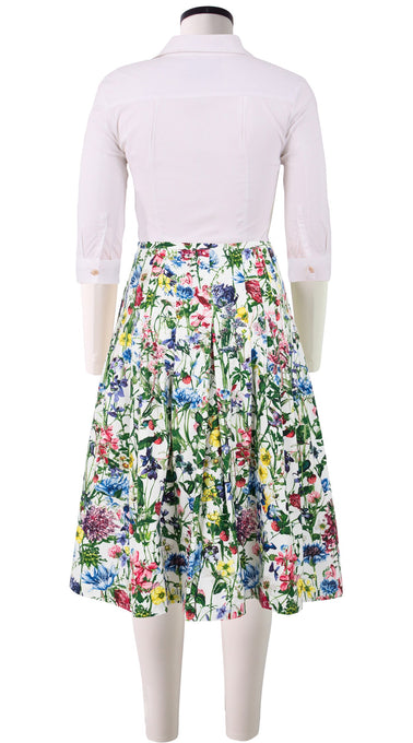 Zelda Skirt Long Length Cotton Stretch (Wild Flower)