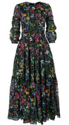 Anna Dress #2 Crew Neck Long Puff Sleeve Ankle Length Cotton Musola (Wild Flowers)