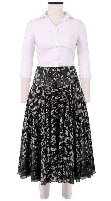 Aster Skirt with Yoke Midi Length Cotton Musola (Willow)
