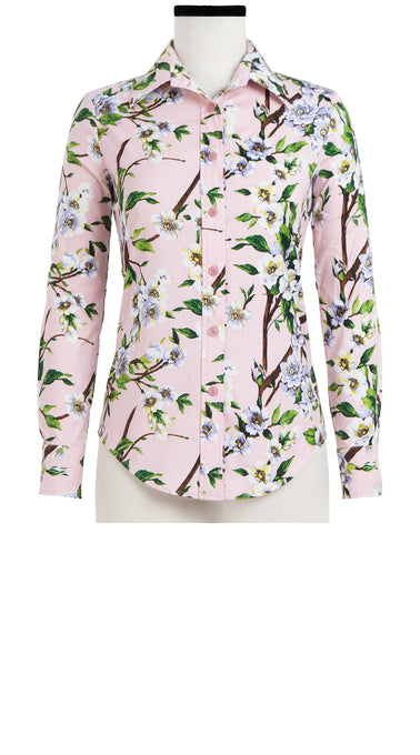Tess Shirt Shirt Collar Long Sleeve Cotton Stretch (Wood Rose)