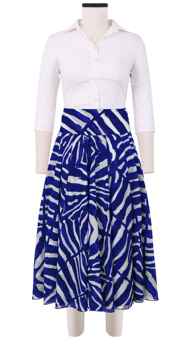 Aster Skirt with Yoke Midi Length Cotton Musola (Zibra Big)