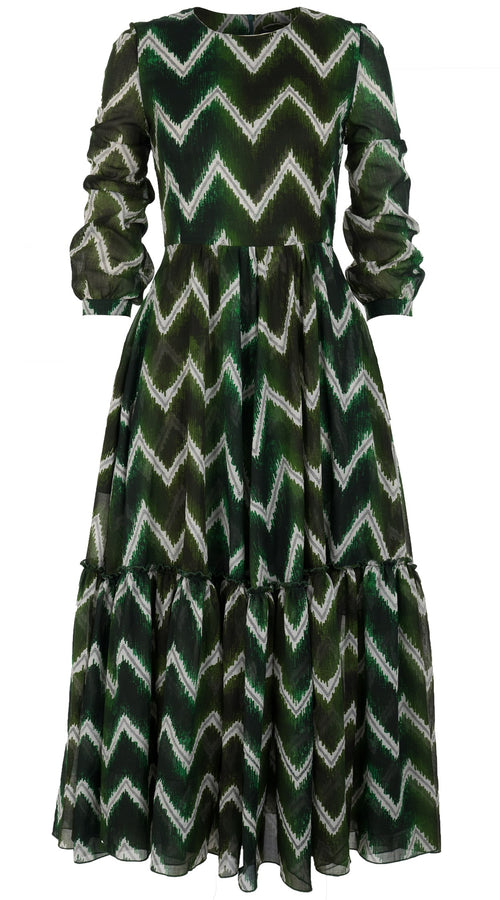Anna Dress #2 Crew Neck Long Puff Sleeve Ankle Length Cotton Musola (Zigzag Velvet)