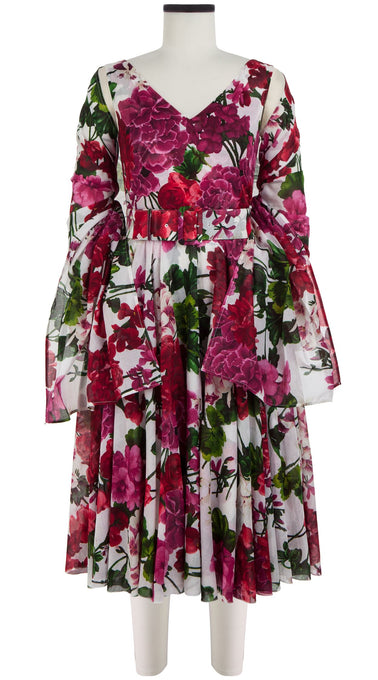 Aster Dress Open V Neck Sleeveless Long Length Cotton Musola (Bougainvillea Blossom)