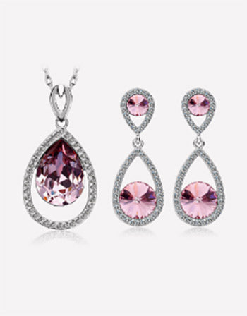 Purple Tear Drop Crystal Jewelry Set