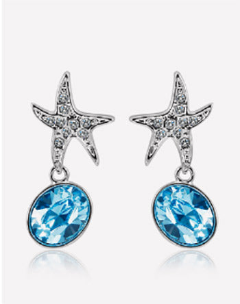 Oceanblue Starfish Crystal Dangle Earrings