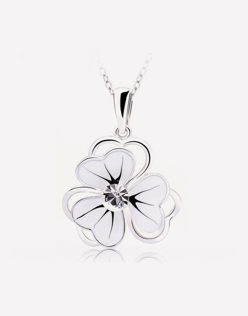 Tiny White Flower Pendant Necklace