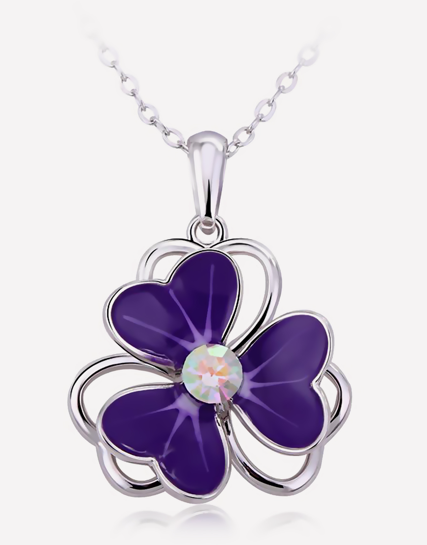 Purple Flower Crystal Necklace