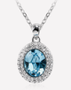 Oflara Halo Ocean Blue Crystal Necklace