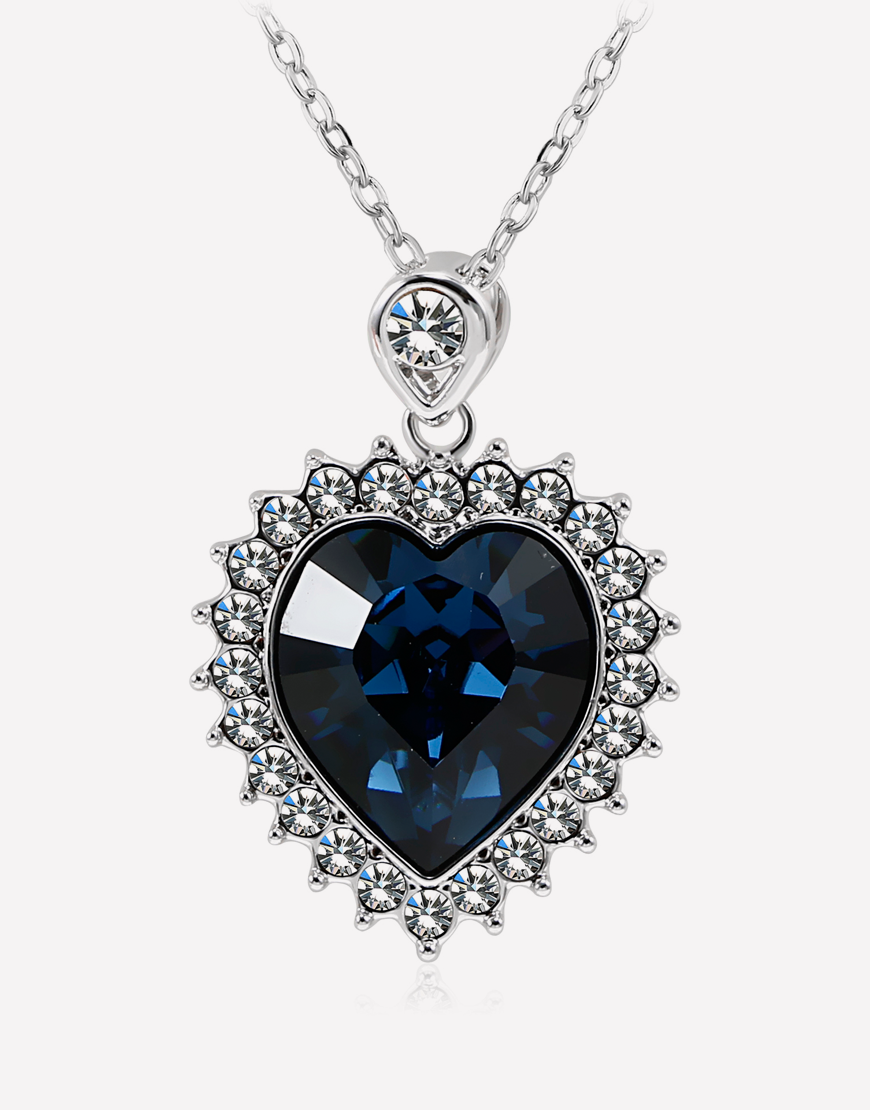 Blue Crystal Heart Pendant