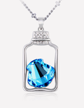 Oflara Flasket Ocean Blue Crystal Necklace