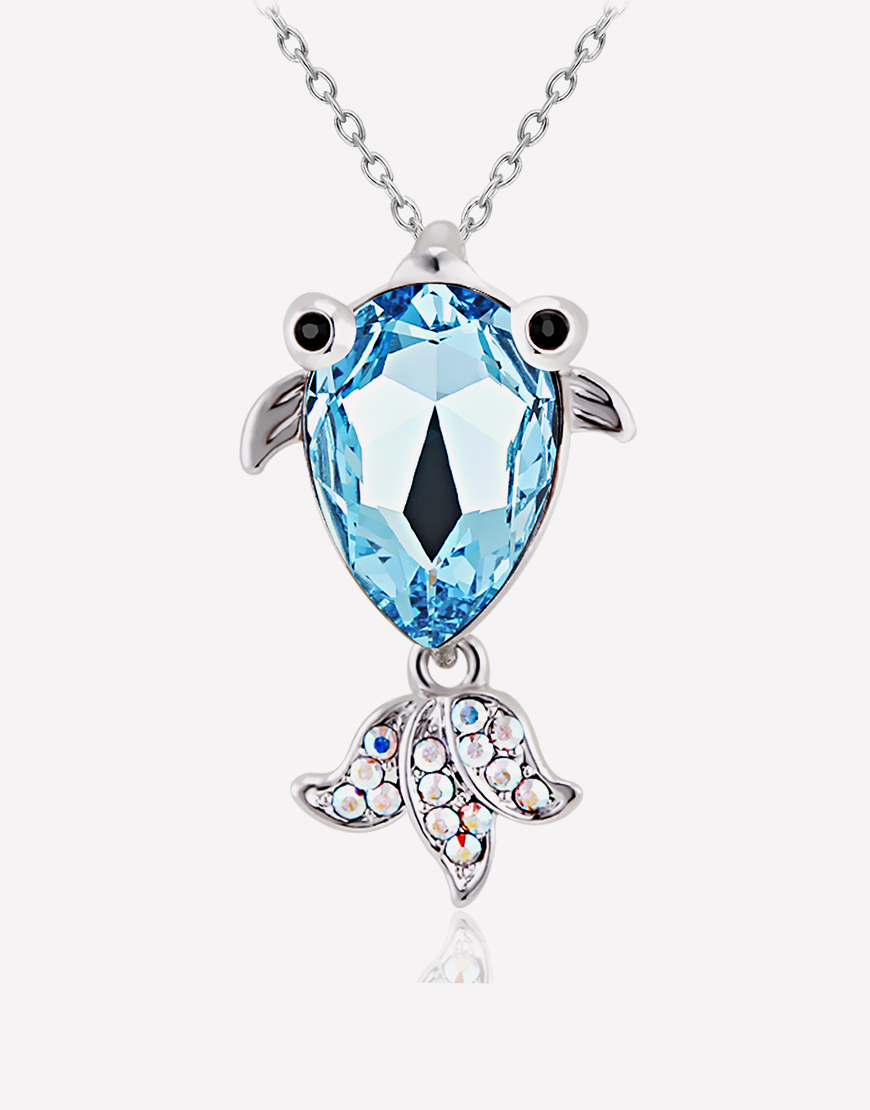 Oflara Seablue Gold Fish Pendant Crystal Necklace