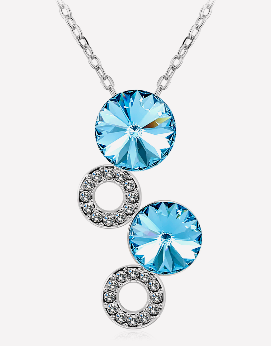 from women collier item maxi neckalce for plated charm in colors crystal blue necklaces silver clolors choose pendant water drop necklace jewelry