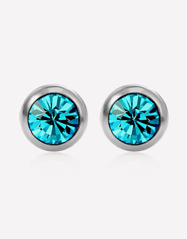 Oflara Disc Pierced Crystal Earrings
