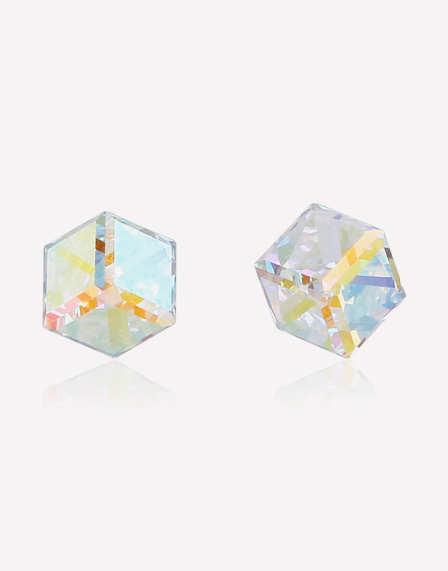 Crystal Prism Cube Earrings
