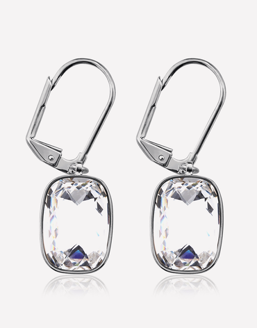 Oflara White Stone Drop Crystal Earrings