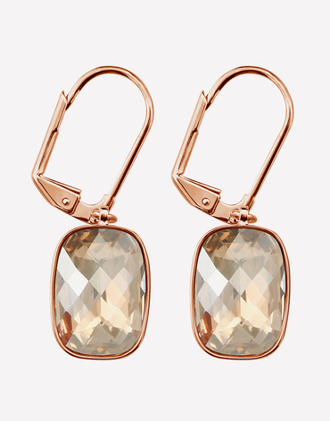 Oflara Champagn Stone Drop Crystal Earrings
