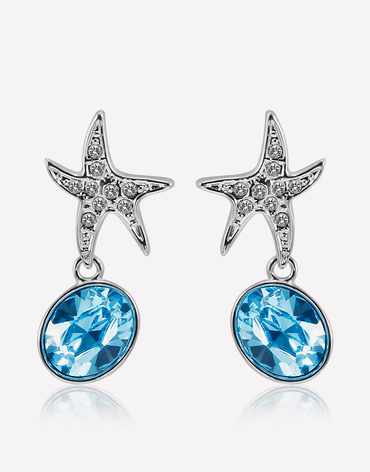 Oflara Oceanblue  Starfish Crystal Dangle Earrings
