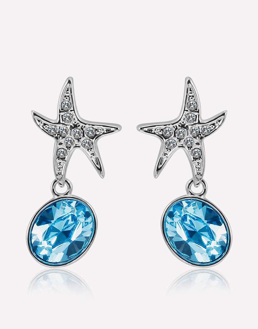 Ocean Blue Starfish Crystal Dangle Earrings
