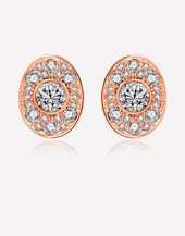 Oflara Oval Shaped Crystal Earrings