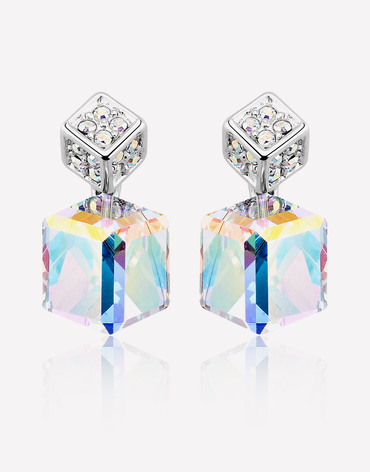 Oflara Two Cubes Crystal Earrings