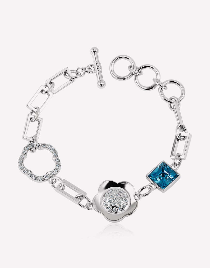 Square Crystal Flower Adjustable Silver Bracelet