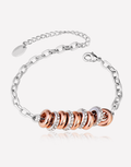 Oflara Platinum Rose Gold Ring Accents Crystal Bracelet