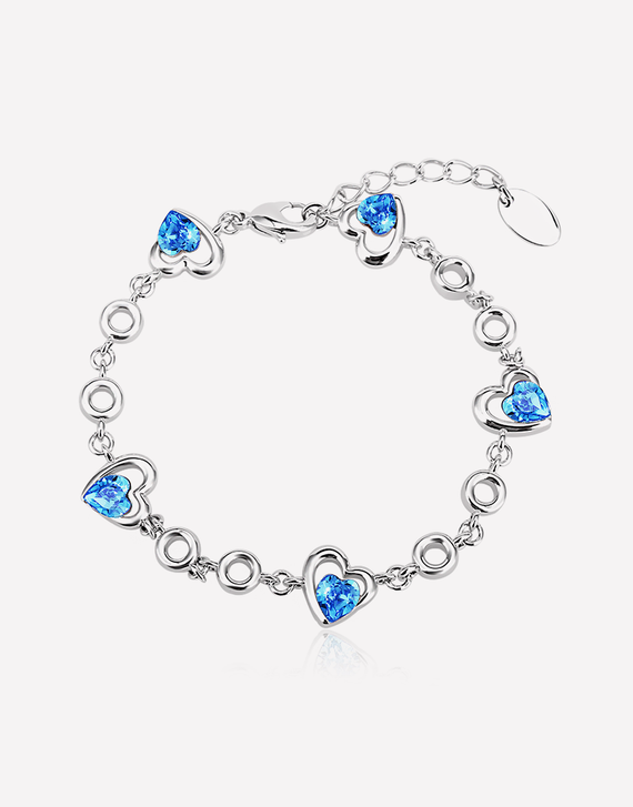 Oflara Blue Sweetheart Adjustable Crystal Bracelet