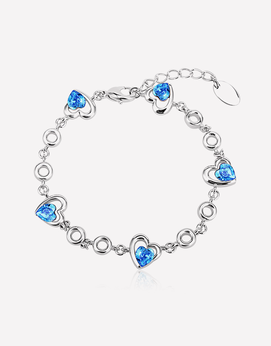Blue Floating Hearts Adjustable Crystal Bracelet