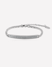 Oflara Lunar  Silver Adjustable Crystal Bracelet