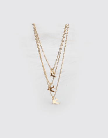 Birds layered necklace pendant. Gold color plating