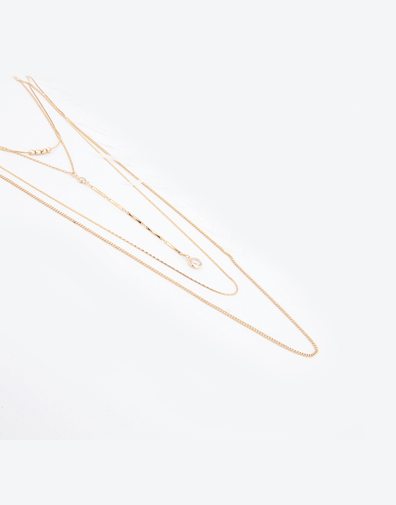 Multi Layered Crystal long chain Necklace, gold color plating