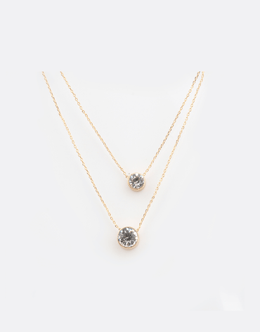 Floating dot, Layered Necklace, gold color plating