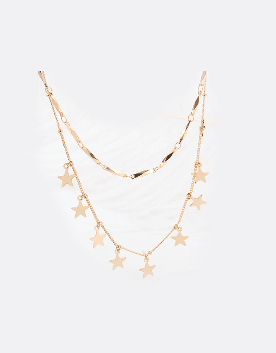 Layered Star necklace pendant, gold color plated necklace