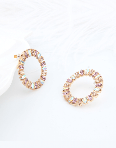 Colorful Beaded Round Circle Earrings