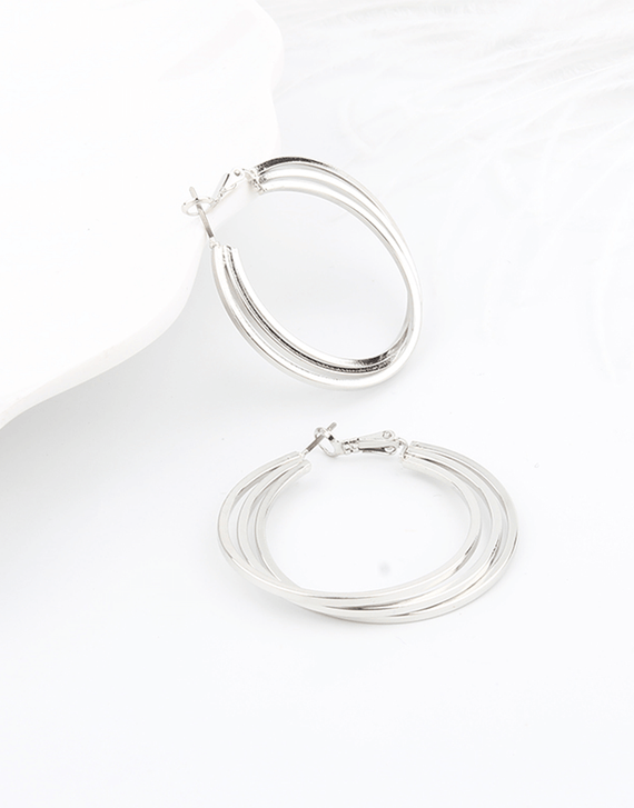 Stacked Hoop Earrings, sterling silver