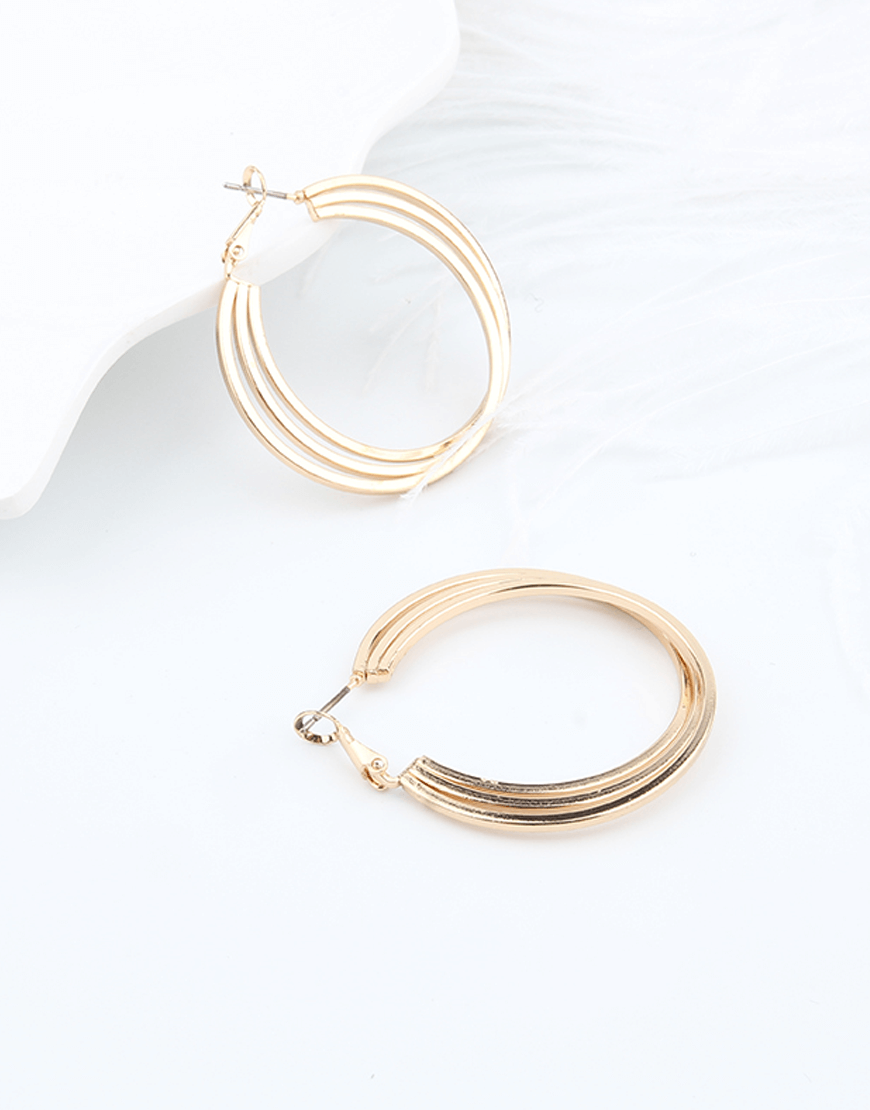 Three tiered Hoop Earrings, Gold Color