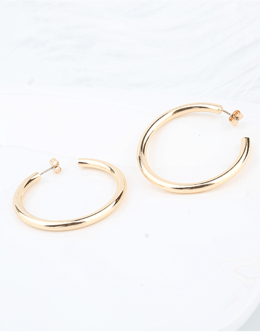 Thick Medium sized Hoop Earrings, Gold Color