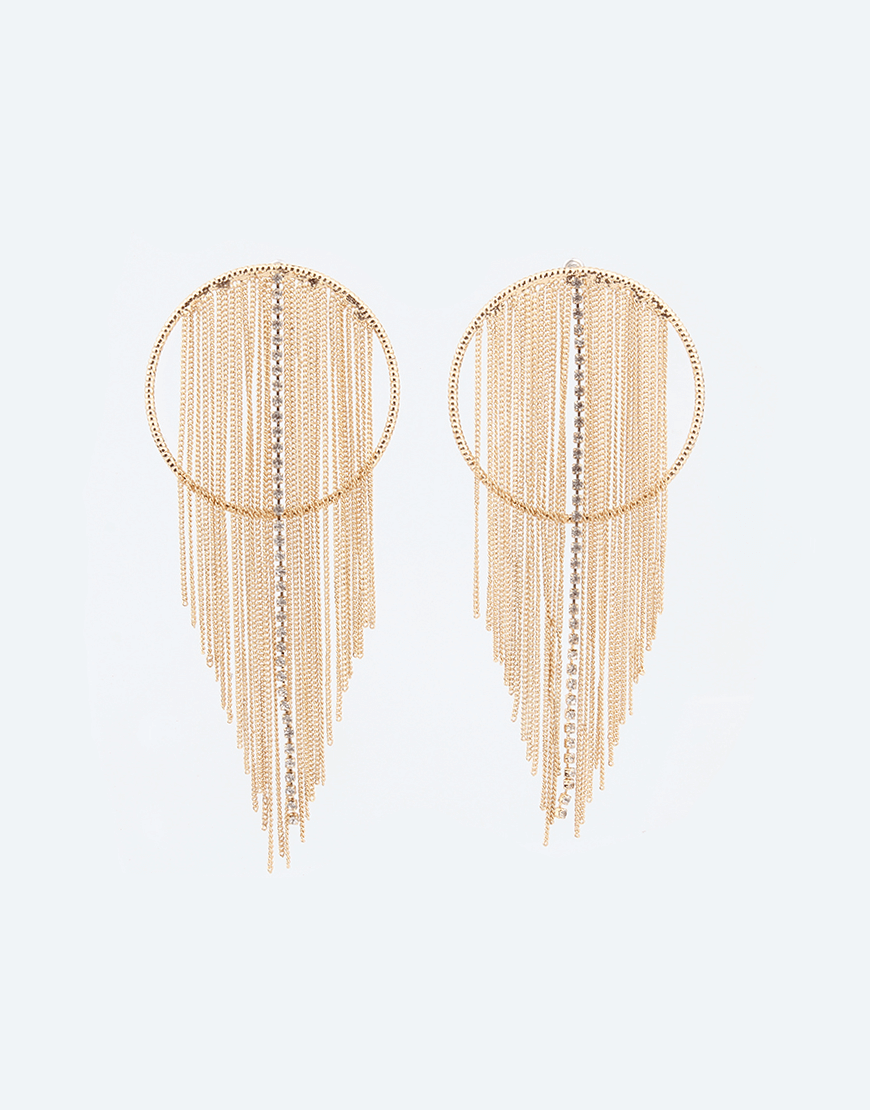 Chain Tassel Hoop Earrings, Rose gold plating