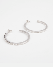 Embellished Sterling Silver Medium Sized Hoops