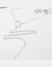 Half Circle Lariat Long Chain Necklace, Sterling silver
