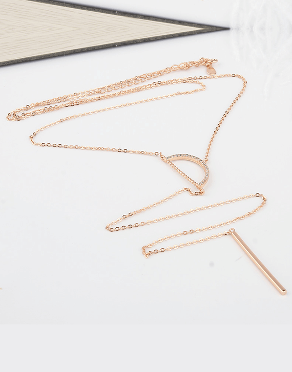 Half Circle Long Chain Necklace, Rose gold
