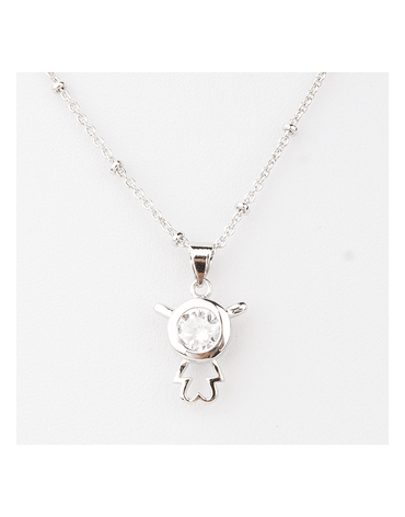 Sterling Silver Robot Alien Pendant Necklace