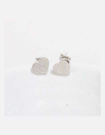 Textured heart stud earrings Sterling Silver