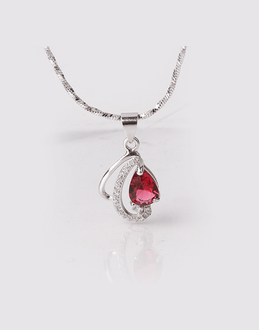 Rose Pink Crystal Drop Pendant